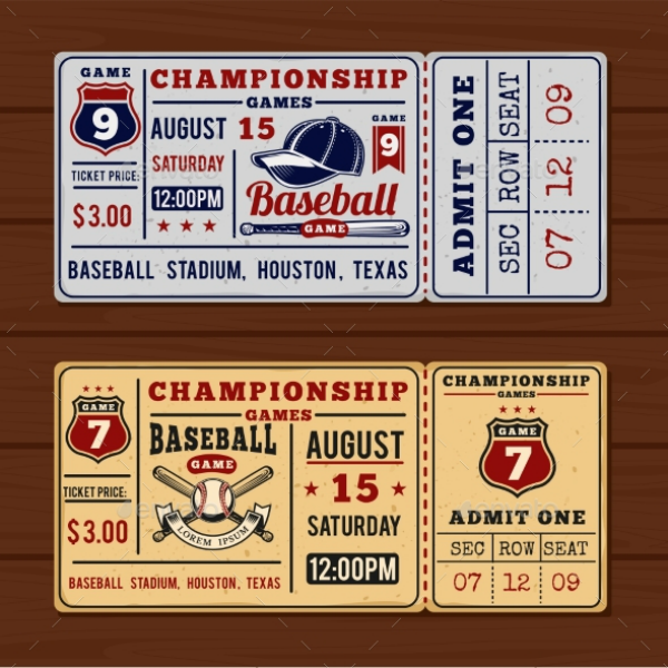 Championship Baseball Event Ticket Template