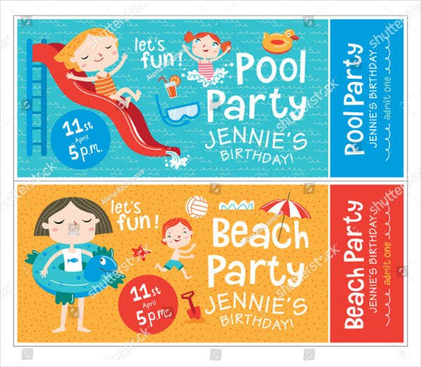 children pool party ticket template