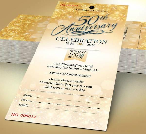 Church Golden Anniversary Ticket Template