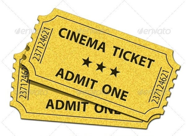 cinema ticket in psd