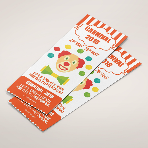 clown face carnival ticket invitation