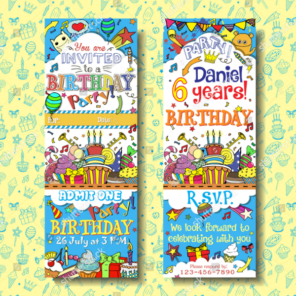 Colorful Birthday Ticket Invitation Template