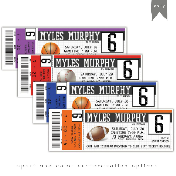 Colorful Multisports Event Ticket Template
