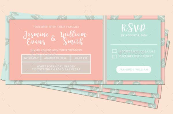 colorful wedding invitation ticket template