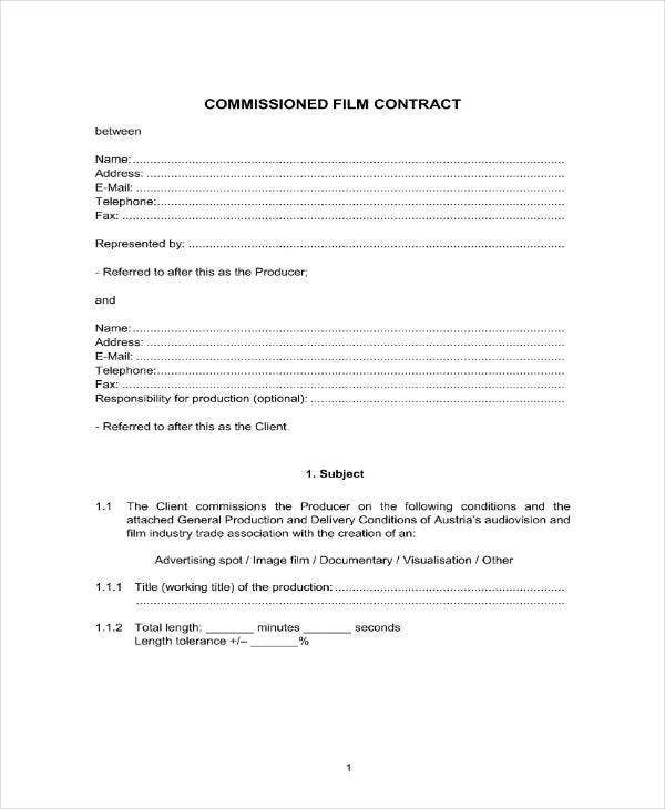 Commissioned Film Contract Example