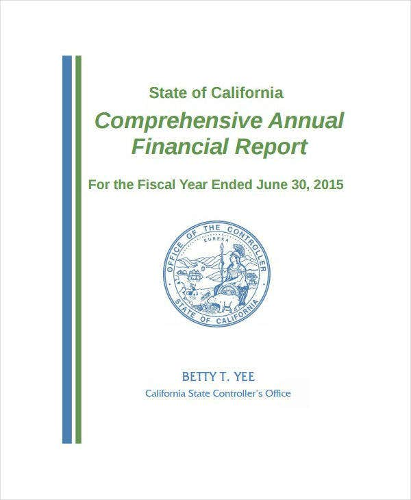 comprehensive annual financial report sample