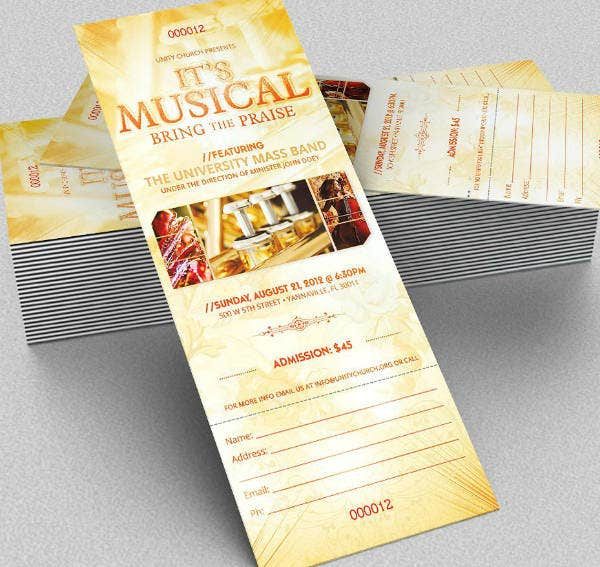 Creative Musical Concert Ticket Template