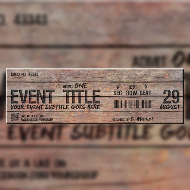 Creative Wooden Event Ticket Template