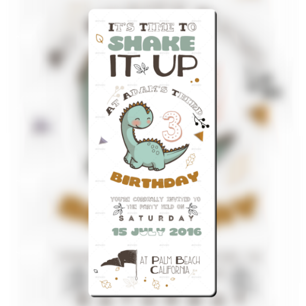 Cute Dinosaur Birthday Ticket Invitation