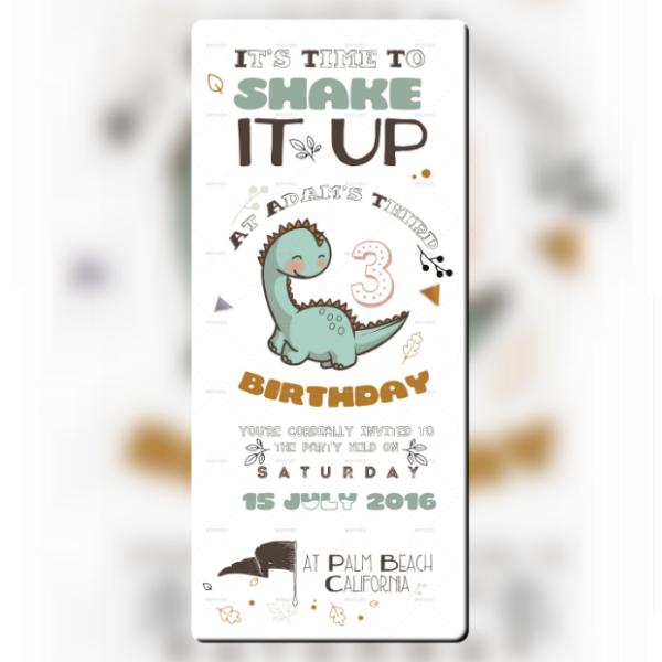 Cute Dinosaur Birthday Ticket Invitation
