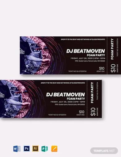 dj event ticket template