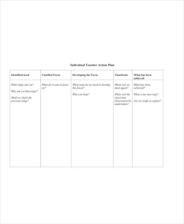 developing individual teacher action plan