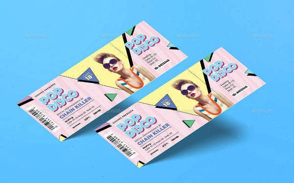 Disco Music Ticket Template