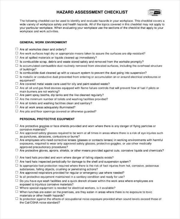 Dust Hazard Analysis Checklist