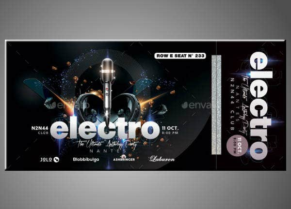 Electro Musical Concert Ticket Template