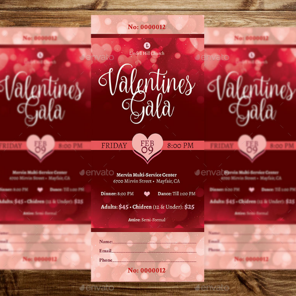elegant valentines gala event ticket