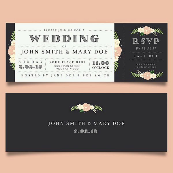 elegant wedding invitation ticket template