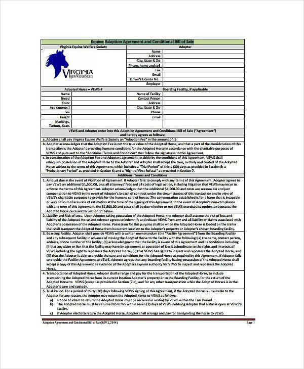 Equine Adoption Agreement Sample