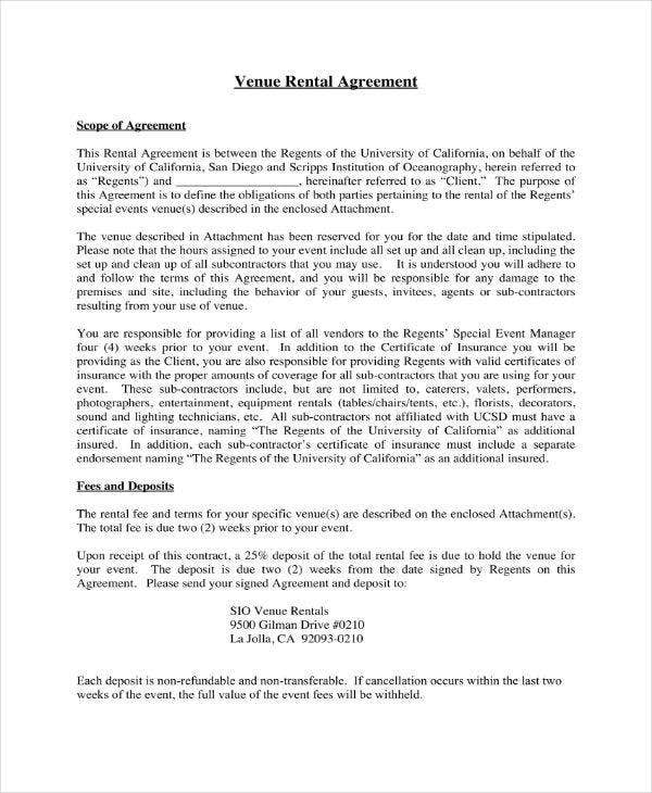 7 Event Venue Contract Templates Pdf Word Google Docs