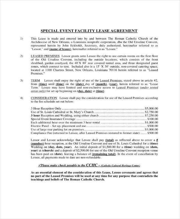 event lease agreement contract