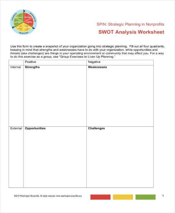 Example of SWOT Analysis Worksheet