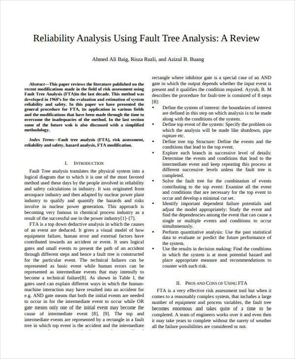 fault tree analysis template