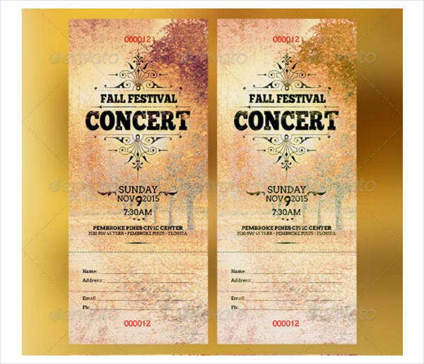 festival music concert ticket sample