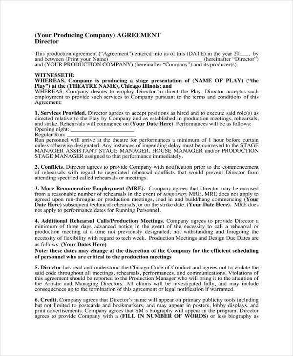 Film Director Agreement Contract