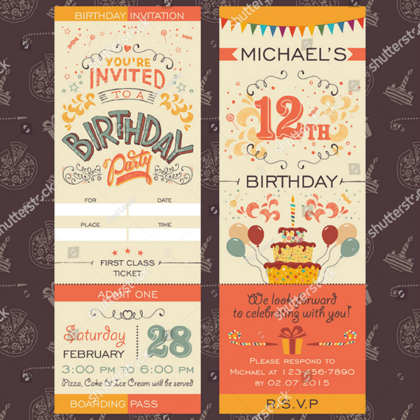 First Class Birthday Ticket Invitation