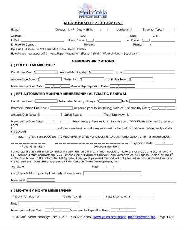 fitness center membership contract agreement