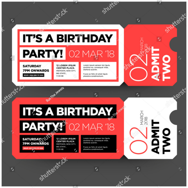 Flat Birthday Party Ticket Invitation