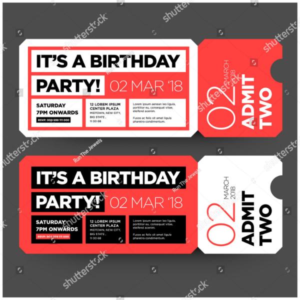 Flat Birthday Party Ticket Invitation
