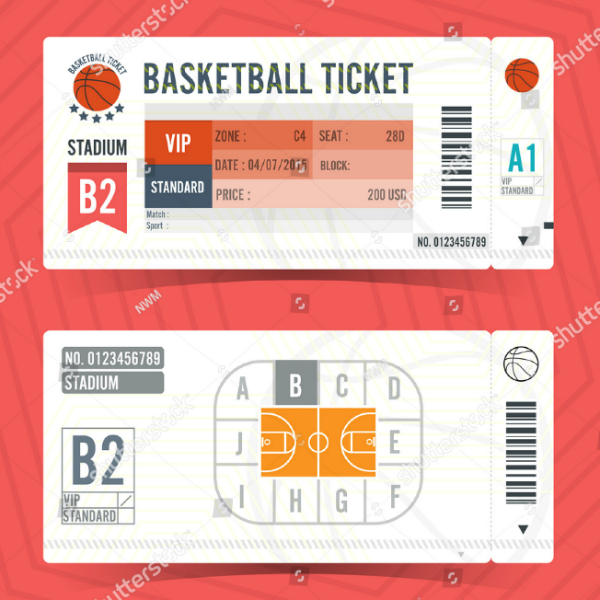 Flat Minimalist Basketball Ticket Template