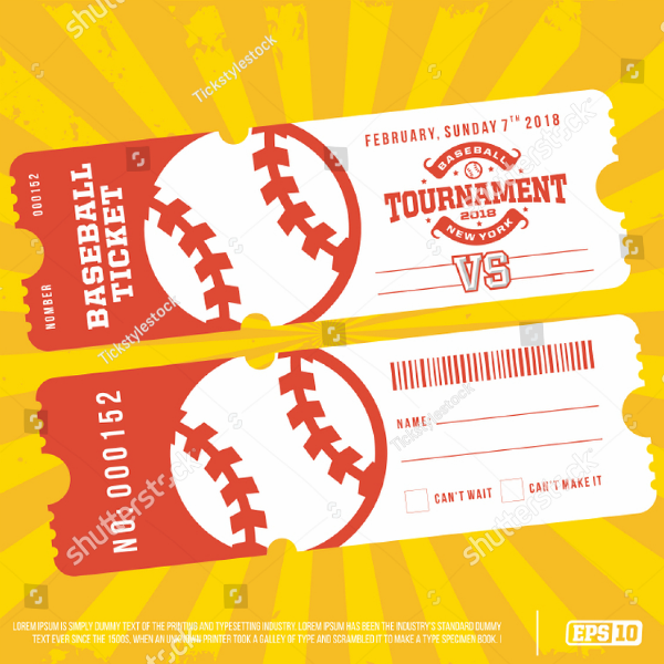 Flat Professional Baseball Ticket Template