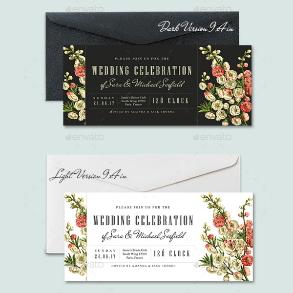floral wedding invitation ticket template