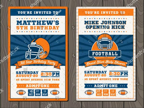Football Ticket Sports Invitation