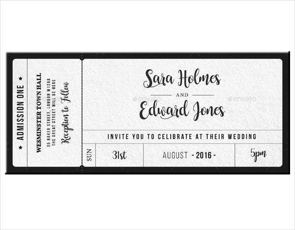 framed wedding invitation ticket template