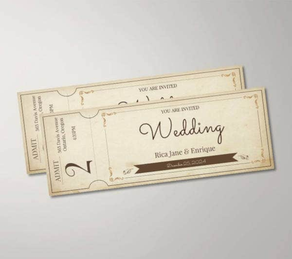 free vintage wedding ticket template