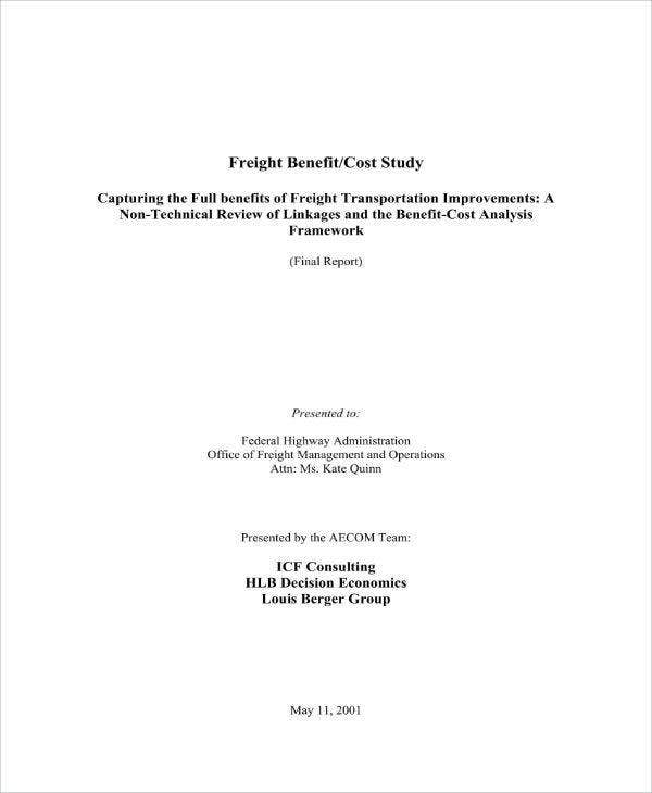 Freight Benefit Cost Study Analysis