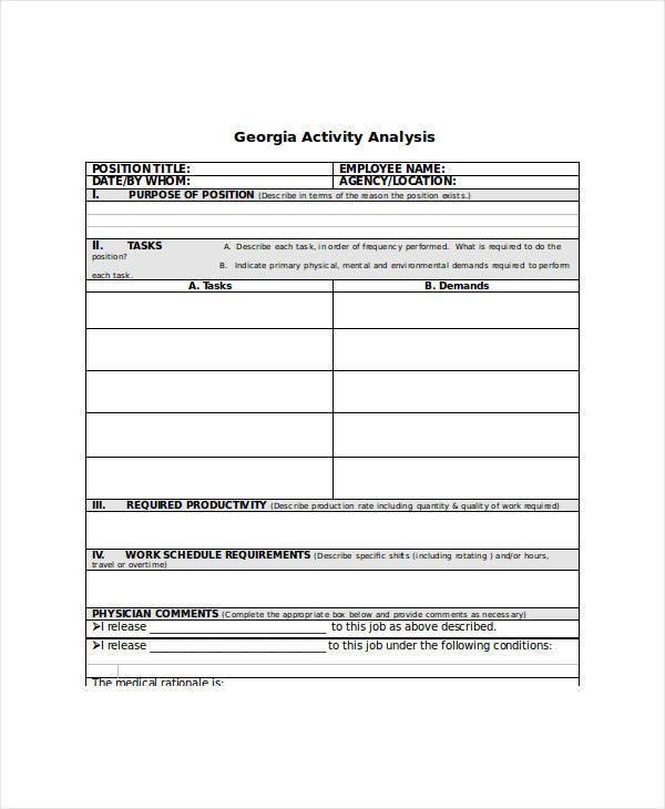 georgia activity analysis sample