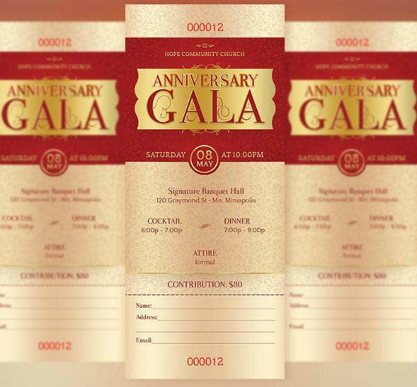 Gold Anniversary Gala Ticket Template