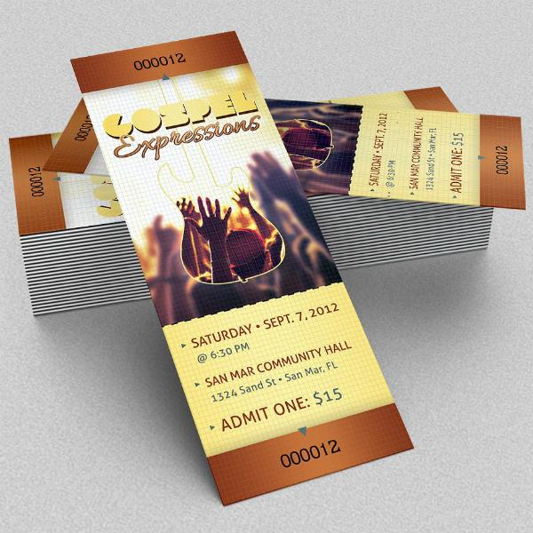 Gospel Expressions Concert Ticket Template