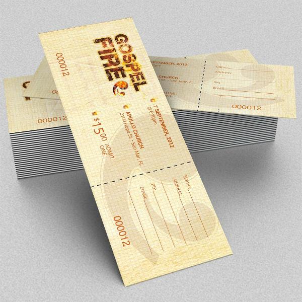Gospel Fire Concert Ticket Template