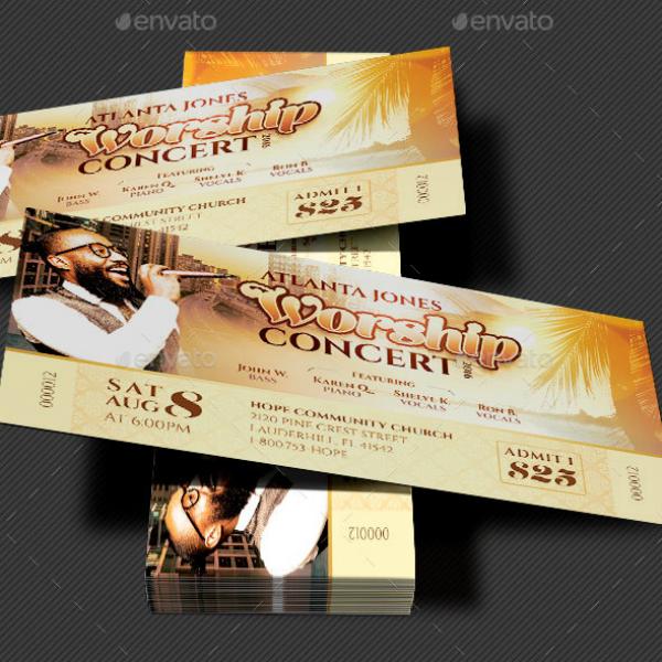 Gospel Worship Concert Ticket Template