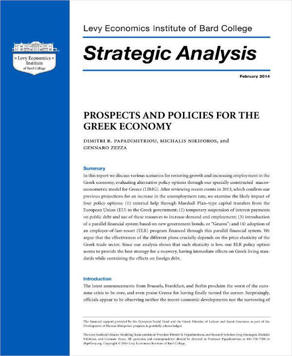 Greek Economy Strategic Analysis