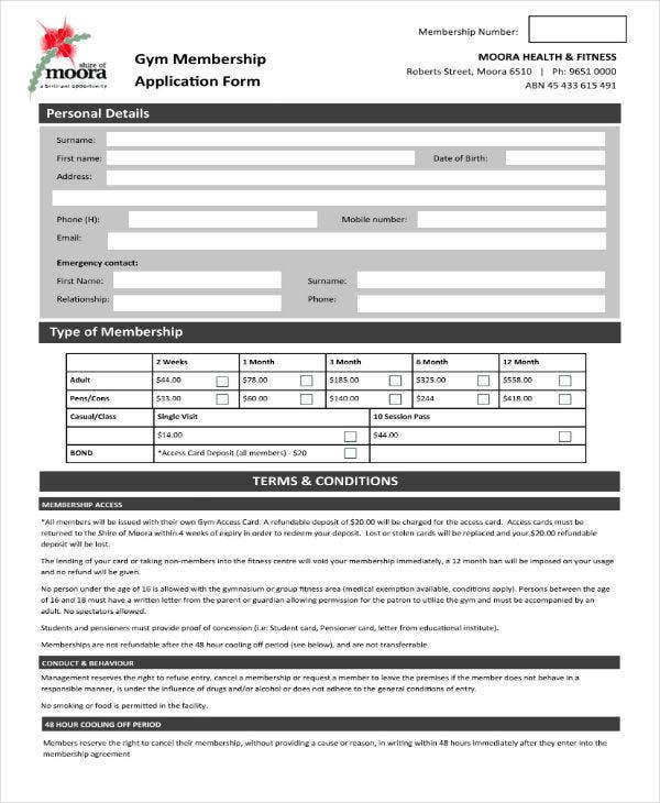gym membership contract form