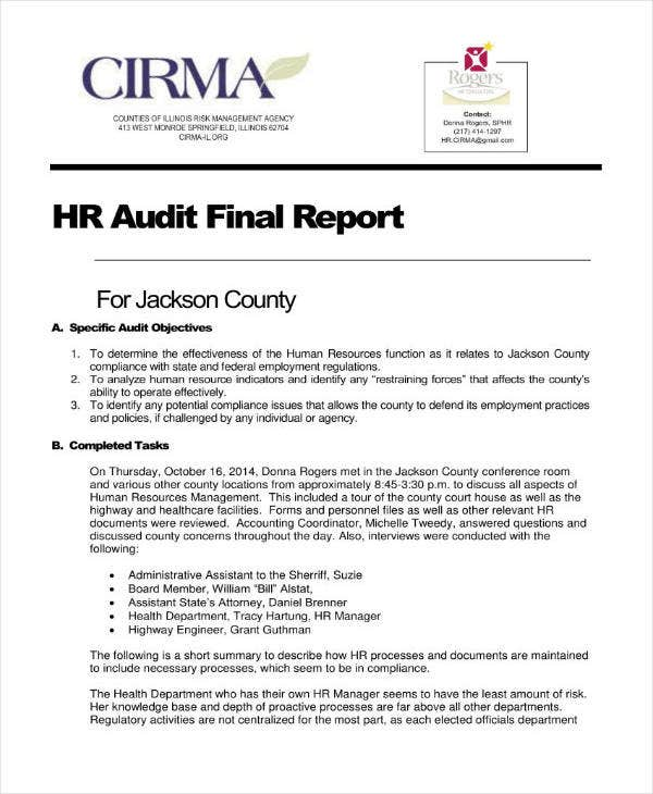 HR Audit Final Report Sample
