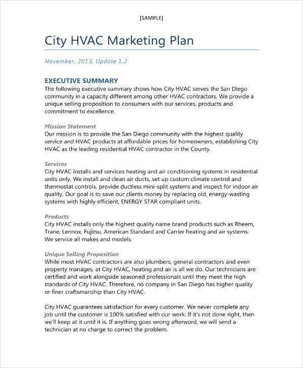 hvac marketing and business plan