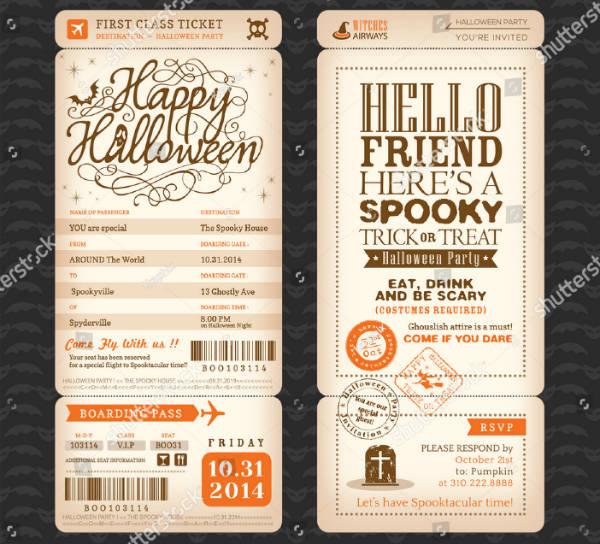 halloween boarding pass ticket template