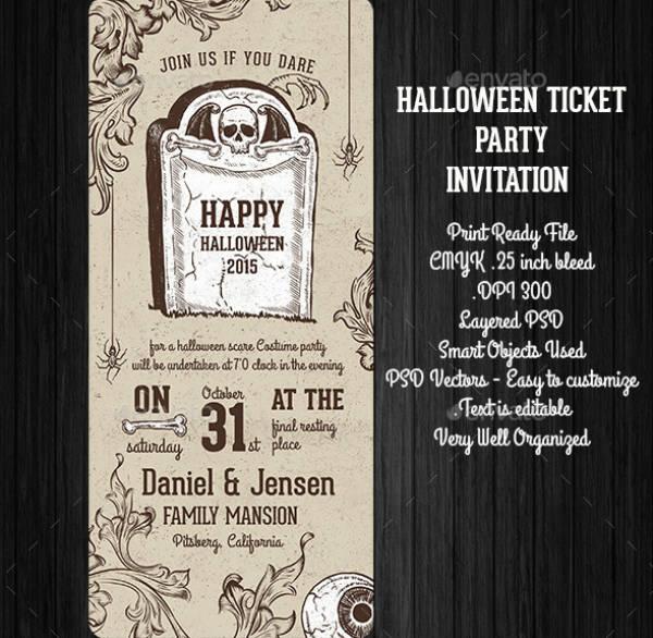 halloween invitation ticket template